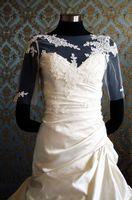 gelin kıyafeti sırf bolero toptan satış-Yeni Varış Zarif Beyaz Bolero Sheer Tül Yarım Kollu üzerinde Kemik dantel ile Aplike Custom Made Wrap Gelinlik Düğün Için elbiseler