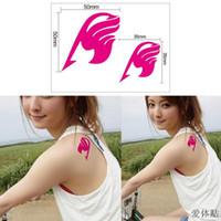 Wholesale Cartoon Temporary Tattoos - New Anime Temporary Tattoo Stickers Set DIY Waterproof Body Art tattoos Cartoon Designs Fairy Tail pink