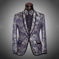 Wholesale Men Wedding Groom Suits - 2015 New Arrival Men Suit Tuxedo Spring Fashion Mens Slim Fit Prom Floral Wedding Suits For Men Brand Groom 6Xl
