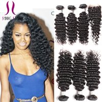 Wholesale Cheap Virgin Brazilian 3pc - Brazilian Virgin Human Hair Weaves With Top Closure 3pc Hair Weft+1pc Lace Closure 4x4 Lace Closure With 3Bundle Deep curly wave Cheap price