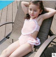 Wholesale Girls Swimsuit Heart - 2016 childrens swimwear Korean Lace Heart Ruffle Kids swim suits girls swimsuits child swimming bikini Summer bathing suits CX061