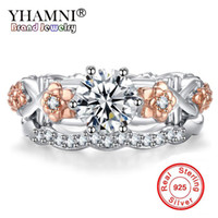 Wholesale natural diamond ring white gold - YHAMNI Original Creative Gift Jewelry Ring 925 Sterling Silver Wedding Rings Natural Zirconia Diamond Gold Color Fashion Rings KYRA099
