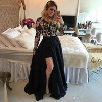Wholesale High Low Detachable Dress - Sexy See Through Black Barbara Melo Long Sleeves High Low Prom Dresses With Detachable Skirt Lace Applique Evening Party Dresses Gowns