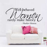 calcomanías de marilyn monroe al por mayor-Las mujeres bien educadas rara vez hacen historia Marilyn Monroe Quotes Tatuajes de pared Vinilo extraíble para el hogar Vinilos decorativos Dormitorio Decoración