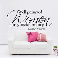 marilyn monroe autocollants achat en gros de-Les femmes bien comportées font rarement l'histoire Marilyn Monroe Citations Stickers Muraux Amovible Vinyle pour la Maison Stickers Muraux Chambre Décor