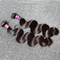 çince insan saç örgüsü toptan satış-Doğal Renk İnsan Saç Örgüleri 8 ~ 30 inç Çin Saç Atkı 3 adet / grup Saç Demetleri Dalgalı Vücut dalga Ücretsiz Kargo Bella