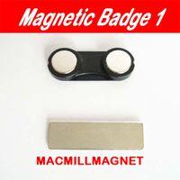 Wholesale Wholesale Magnetic Name Badges - 30pcs Black Magnetic Name badge Tag Holder 2 magnets Permanent Magnetic badge (30pcs lot) 32x12mm,Free Shipping