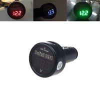 Wholesale 12v Led Battery Monitor - Wholesale- Cls 2 In 1 Car 12V 24V USB Charger Digital LED Voltage Battery Monitor Voltmeter Aug 25