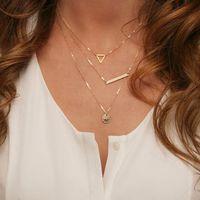 Wholesale Wholesale Shot Necklace - Multi layer Necklace Fashion Street Shoot Wide Rods Sequins Hollow Triangle Necklace Pendants For Women Wholesale 12 Pcs