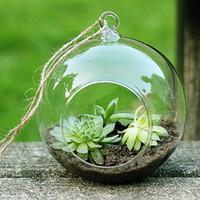 Wholesale glass terrarium kit - 6PCS Set glass orb planter vases,hanging globe terrarium kit for garden decor,home decoration,wedding decor,green gifts for her