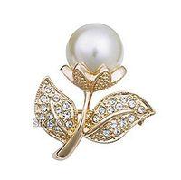 marfim jóias china venda por atacado-Frete grátis ! Top de Jóias Por Atacado Banhado A Ouro Claro Strass Cristal Marfim Folha De Pérola Flor Pequeno Pin Broches