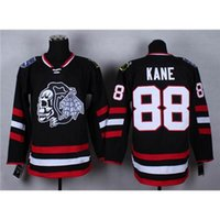 Wholesale Cheap Sale Men Wear - Cheap Blackhawks #88 Patrick Kane Black Hockey Jerseys Stadium Series White Skull Head Ice Hockey Wears Hot Sale American Hockey Uniforms