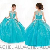Wholesale Turquoise Girls Dress - 2017 Little Pageant Dresses for Girls Princess Style Jewel Sleeveless Crystals Beading Appliques Zipper Back Covered Organza Turquoise Dress