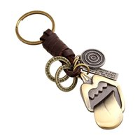Wholesale Tongue Ring Men - Punk keychain creative gifts of men and women retro braided leather tongue alloy key chain Key Rings raccessories Promotion Gift