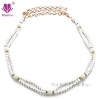 Wholesale Pearls Waist Belts - Double Pearl Chain Belts For Women Korean Version Women Pearl Belt Women Waist Chain Belt Cummerbunds (BL-703) YouKee Belt