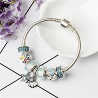 Hot New Fashion Fish Pineapple Bead FAI DA TE Blue Crystal StarShell Charm BraccialiBangle per le donne Gioielli di moda europea