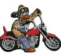 """Wholesale Homer Simpson Costumes - 3.5"""" BIKER HOMER SIMPSON BEER Rockabilly Heavy Metal Movie TV Series Costume Embroidered iron on patch TRANSFER MOTIF APPLIQUE"""