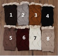 Wholesale Lace Socks For Boots Wholesale - 20pairs lot Christmas Gift Short Lace Leg Warmers Boot Knit Crochet Knee Leg Warmers Boot Cuffs Boot Toppers for Women Boot Socks K6094