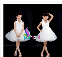 Wholesale Girls Sleeveless Harness Dress - 2015 Girls dress harness bitter fleabane bitter fleabane skirt children hang white princess dress neck flower skirt bridesmaid performance v