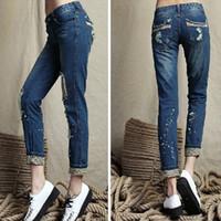 Wholesale Leopard Harem Lady - Womens plus size blue denim jeans designer ladies flare harem ripped Leopard hole distressed thin pencil jeans for women wholesale