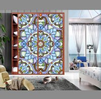 Spedizione gratuita Ripristinare Adesivi sensi antichi Stained Glass Sticker Art Glass di Windows armadio Mobili Armadio con ante