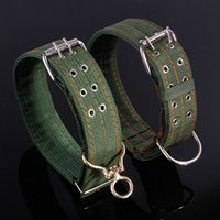 Pet Supplies Collari in tela per cani Colletto Collo grandi cani Anello verde militare Due stili Solid Resistente