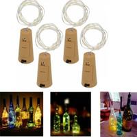bakır dekor toptan satış-1 M 10LED 2 M 20LED Çelenk Festoon Tel Bakır Dize Işık Mantar şekil Şarap Şişesi Tıpa peri yıldızlı asma lamba DIY vazo Xmas Dekor