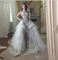 Wholesale Beaded Detachable Wedding Skirt - Luxury Crystal 2018 Wedding Dresses With Detachable Skirt High Neck Long Sleeves Beaded Applique Wedding Gowns Court Train Bridal Dress