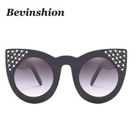 Wholesale cat ear glasses - Fashion Cool Female Big Frame 2018 Luxury Crystal Cateye Sunglasses Women Cat Ears Frame Rhinestone Sun Glasses Clear Gradient