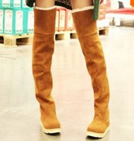 Wholesale flat black thigh high boots - New Women's Suede Flat Boots Winter Thigh High Boots  Over The Knee Boots Shoes 4 colors for choose