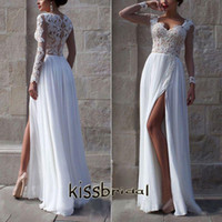 Wholesale Long Princess Sweetheart - 2015 Elegant White Lace Princess Beach Wedding Dresses Sweetheart Long Sleeves A-line Side Split Chiffon Floor-length Garden Bridal Gowns