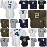 Wholesale Gehrig Jersey - 2017 Youth New York Jersey 2 Derek Jeter 3 Babe Ruth 4 Gehrig 5 Joe DiMaggio Kids Baseball Jerseys Stitched