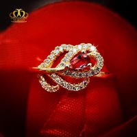 Wholesale Red Tourmaline Rose Gold Ring - Engagement Hot sale Wholesale 18k rose gold plated rose red precious natural tourmaline CZ rings for women