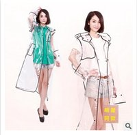 Wholesale Clear Pvc Fashion Coat - Serging Raincoat Boutique Unisex Transparent Clear Pvc Rainwear Fashion Rainwear Waterproof Runway Style Poncho Raincoat Rain Coat m938