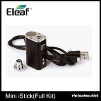 kit ismoka al por mayor-Eleaf Mini istick 10W Kit completo Ismoka Eleaf Mini Istick 1050mAh Capacidad de la batería con voltaje ajustable y pantalla LED Digtal