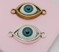 Wholesale Evil Eye Bronze - Free Shipping 50Pcs Bronze Silver Plated Evil Eye Charms Connectors punk art Fit Bracelet Jewelry 30x15mm NEW