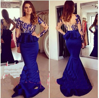2017 Sexy Royal Blue Sheer Neck Abiti da sera Lungo Occasioni convenzionali Abiti da ballo Mermaid Manica lunga Peplo Party Celebrity dress
