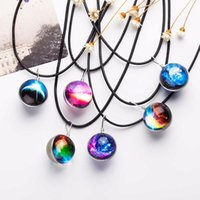 Wholesale Planet Pendant - 2017 Duplex Planet Crystal Stars Ball Glass Galaxy Pattern Leather Chain Pendants Maxi Necklace Glass Galaxy Lovely Necklace