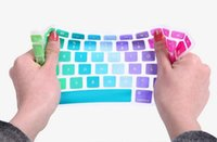 Wholesale Macbook Pro Pc Keyboard - Wholesale-Hot 1 Pcs US Version Colorful Rainbow Silicone keyboard Cover Skin Sticker For Apple Macbook Book Air Pro Retina 13 15 17 Inch