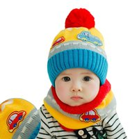 New Cute Baby Girl Boy sciarpa a maglia cappello Set Car Pattern Fleece Warm Cap Scaldacollo Set di due pezzi