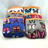 Wholesale Mini Coin Purse Animal Print - New Women's Design Canvas Butterfly Printed Mini Coin Money Bag Purse Wallet 12Pcs lot Free Shipping