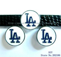 Wholesale Dog Collars 8mm - SL239-4 LA Dodger 8mm Slide Charms Fit Pet Dog Cat Tag Collar Wristband