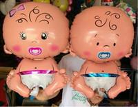 menino inflável venda por atacado-SORRISO MERCADO Frete Grátis Baby boy girl Promoção Brinquedo Para Festa de Aniversário de Casamento Inflável Foil Balões