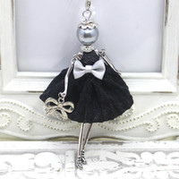 Wholesale Jewelry Black Dress Doll - 2016 New Fashion French Doll Necklace Jewelry Ctue dress doll pendant handmade women necklace gifts Wholesale free shipping