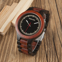 Wholesale Pine Wood Color - BOBO BIRD new fashion luxury brand men's wooden watch Ebony mahogany pine wood color business wooden quartz watch