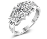 Wholesale Low Priced Black Diamonds - Luxury Exquisite zircon ring crystal Zircon Gemstone Ring wholesale 925 silver ring Hot Girls Gift ring wholesale low price R146 Europe