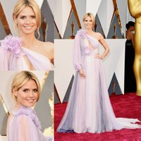Wholesale Heidi Klum Purple Dresses - 2016 Oscar Heidi Klum Celebrity Dresses With Sleeves One Shoulder Pleated Evening Wears Red Carpet Hand Made Flowers Long Prom Gowns