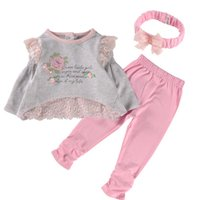 Wholesale Girls Lace Flower Clothing Set - New Spring Baby Girl Clothes Set lace shirt+pants+hearwear 3 Pieces 100% Cotton Lovey Baby Flower letter Clothing Good Quality 4 s l