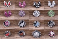 ingrosso mescola il tasto di schiocco di vendita 18mm-SALDI! 131 stile opzionale! 2016 NUOVO Mix Molti stili 18mm metallo noosa pulsante a scatto con strass di cristallo pulsante bottoni scatta gioielli pc 30 pz