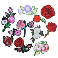 Wholesale Iron Appliques Flowers - 11PCS Flowers Patches for Clothing Bags DIY Iron on Transfer Applique Patch for Garment Jeans Sew on Embroidery Patch